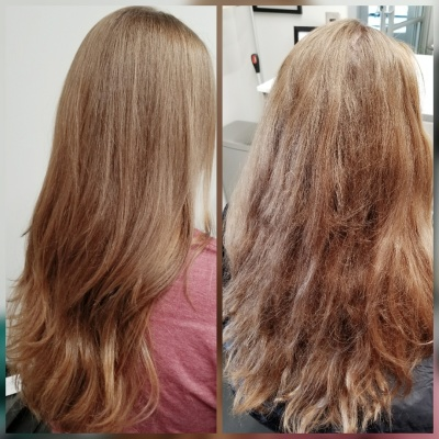 Long Layered Haircut Davines Smoothing Shampoo After and Before