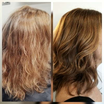 Before and After Color Correction All Over Color and Balayage