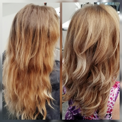 Before and After Color Correction Low Lights, Balayage, Toner and Trim