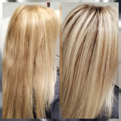 Before and After Base Color Correction and Highlights